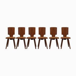 Mid-Century S28 Dining Chairs by Pierre Chapo, Set of 6