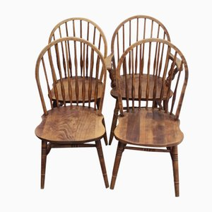 Ash Comb Dining Chairs, 1940s, Set of 4