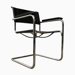 B34 Beistellstuhl aus schwarzem Leder von Marcel Breuer für Thonet, 2000er