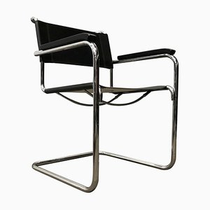 B34 Side Chair in Black Leather by Marcel Breuer for Thonet, 2000s
