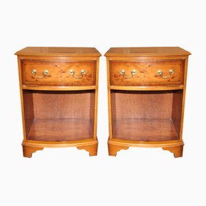 Yew Wood Bedside Cabinets, 1960s, Set of 2