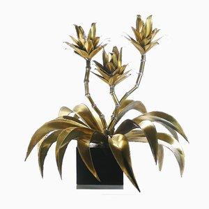 Brass Flower Floor Lamp from Maison Jansen, 1970s