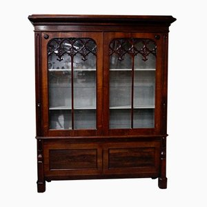 Large Victorian Gothic Rosewood and Glass Bookcase, 1880s