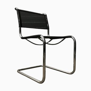 S33 Chair in Black Netweave Version by Mart Stam for Thonet, 2000s
