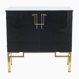 Lacquered Brass Bar Cabinet by Guy Lefevre, 1970s
