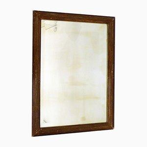 Large Vintage Frame Stucco & Grooved Brown Beveled Mirror