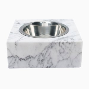 Squared White Marble Cats and Dogs Bowl With Removable Steel from Fiammettav Home Collection