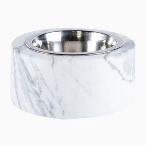 Abgerundeter Behälter aus Weißem Marmor Katzen und Hunden mit Herausnehmbarem Stahl von Fiammettav Home Collection