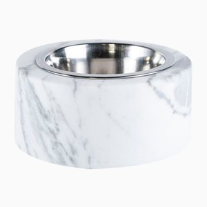 Rounded White Marble Cats and Dogs Bowl With Removable Steel from Fiammettav Home Collection