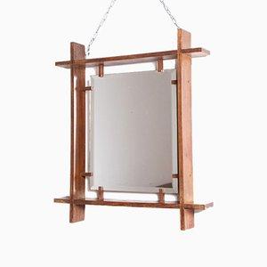 Mid-Century Italian Wooden Mirror by Ettore Sottsass