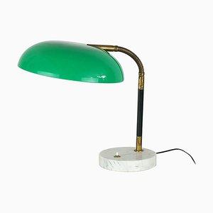 Grüne Tischlampe aus Plexiglas, Messing & Marmor von Stilux, 1960er