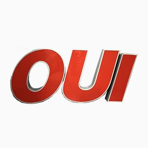 Large Illuminated OUI Signs, 1970s, Set of 3