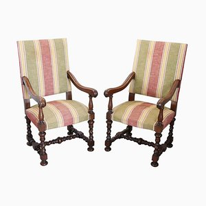 Turned Walnut Armchairs, 1930s, Set of 2