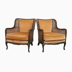 Straw Bergere Lounge Chairs, 1930s, Set of 2