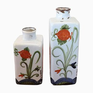Italian Hand-Painted Ceramic Vases or Bottles from Faenza, Set of 2