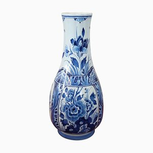 Ceramic Vase with Blue Floral Decorations by Delft, 1960s