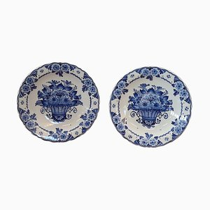 Ceramic Platters with Blue Floral Decorations by Delft, 1980s, Set of 2