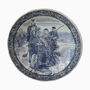 Large Vintage Boch Blue and White Wall Plate from Royal Delft, 1950s