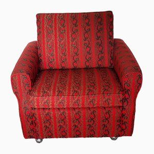 Vintage Armchair with Wheels in Red and Brown Fabric, 1970s