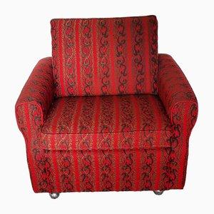 Vintage Sessel mit Rollen in Rot & Braunem Stoff, 1970er
