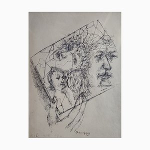 Chaim Gross - Composition with Faces - 1942