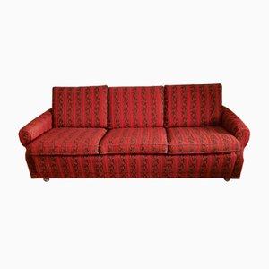 Canapé Vintage en Tissu Rouge et Marron, 1970s