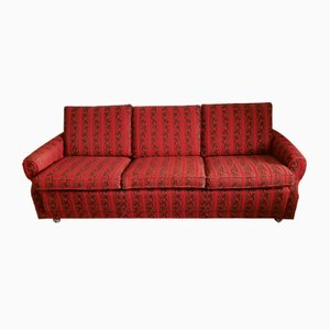 Vintage Red and Brown Fabric Sofa, 1970s