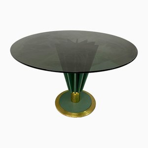 Brass and Green Painted Iron Dining Table by Pierre Cardin, 1970s