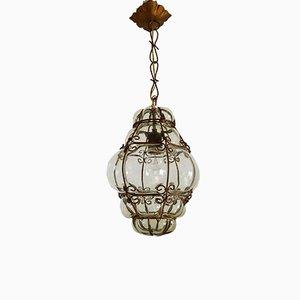 Lampe à Suspension Vintage en Verre de Murano Jaune Clair