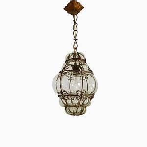 Vintage Light Yellow Murano Glass Hanging Lamp