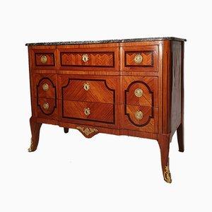 Cassettiera Transizione in legno di noce intagliato, XIX secolo