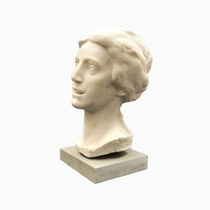 Bust of a Woman in White Marble by Aurelio Bossi, 1930s