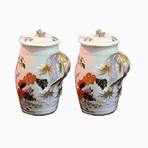 Antique Porcelain Jars Decorated with Flowers from Vista Alegre, Set of 2