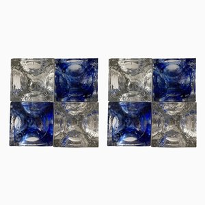 Italian Blue & Clear Glass and Stainless Steel Cube Sconces from Poliarte, 1970s, Set of 2
