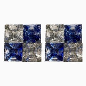 Italienische Kubische Wandleuchten aus Blauem Klarglas & Edelstahl von Poliarte, 1970er, 2er Set