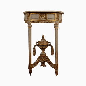 French Neoclassical Marble & Wood White & Gold Console Table, 1770s