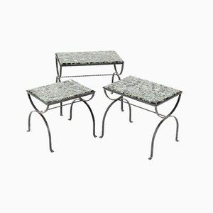 Iron Nesting Tables with Onyx Tops, 1970s, Set of 3