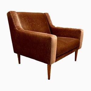 Scandinavian Velvet Armchair, 1950s