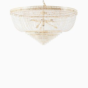 Large Gilt Metal French Ceiling Light, 2000s