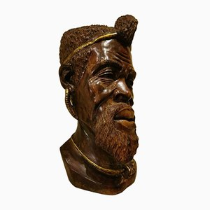Antique Wooden Head with Gold Ornamentation