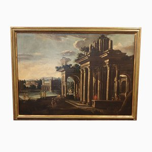 Antique Landscape with Characters and Temple Ruins, Oil on Canvas