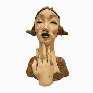 Clay Sculpture of Lady, 1980s
