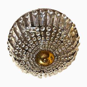 Bronze Lead Crystal Flushmount, 1950s