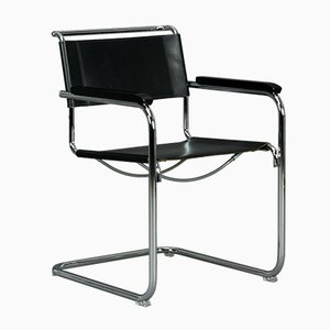Thonet S34 Black Leather Chair by Mart Stam