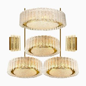 Glass and Brass Light Fixtures from Doria, Germany, 1960s, Set of 6