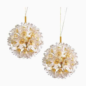 Brass and Gold Murano Glass Sputnik Light Fixtures by Paolo Venini for Veart, Set of 2