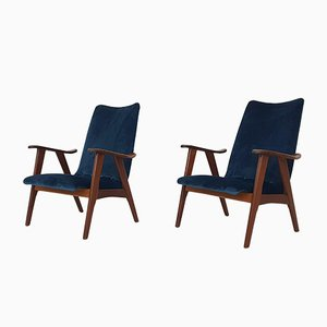 Lounge Chairs in Velvet by Louis Van Teeffelen for Webe, the Netherlands, 1960s, Set of 2