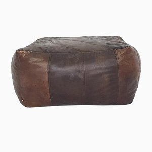 Mid-Century Square Leather Patchwork Ottoman