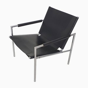 SZ02 Black Leather Lounge Chair by Martin Visser for 't Spectrum, the Netherlands 1964