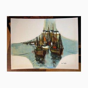 Maurice Lemaître, Harbor Exit, 2000, Acrylic on Cardboard